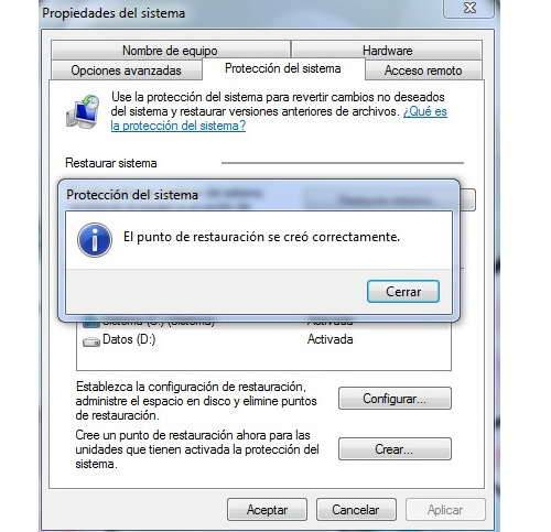 Como crear puntos de restauracion en Windows 7